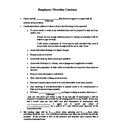 Child Care Employee Contract Printable