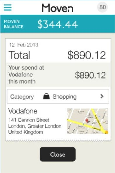 Moven for iPhone Transaction Details UI Financial - balance sheet