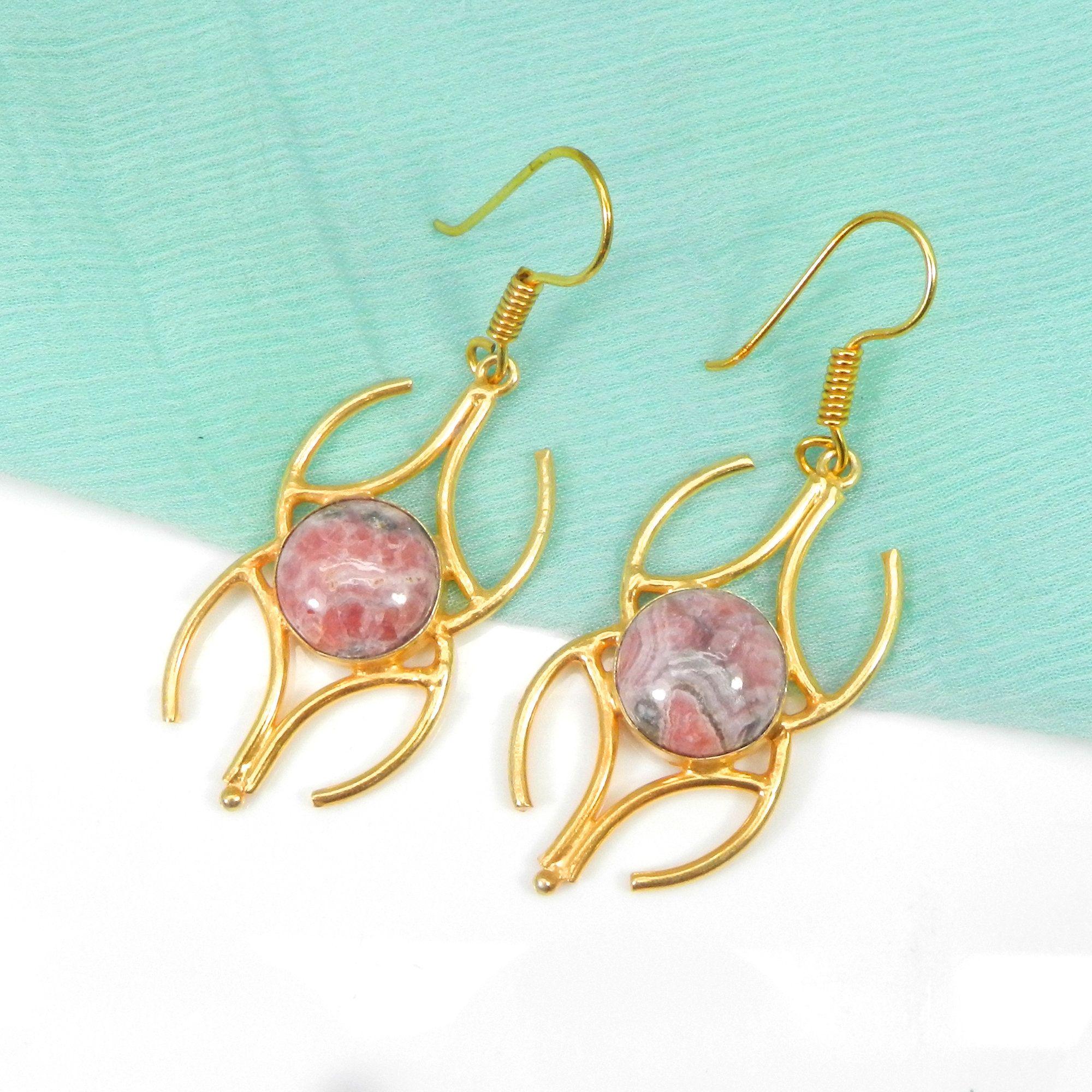 Gift for Her Rhodochrosite Teardrop Earrings Rhodochrosite Gemstone Earrings Rhodochrosite Wire Wrapped Earrings