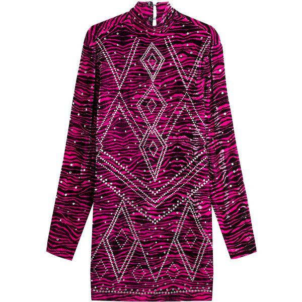 Just Cavalli Embellished Animal Print Velvet Dress (€1.000) ❤ liked on Polyvore featuring dresses, pink, long-sleeve mini dress, mini dress, purple dress, long-sleeve shift dresses and velvet dress