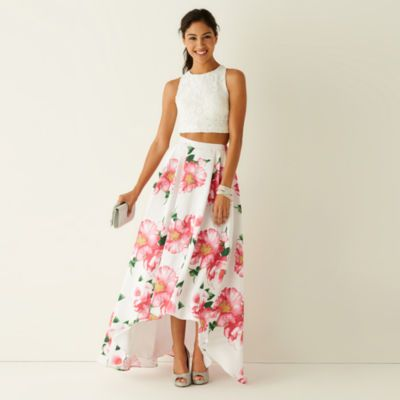 2f15daf9 My Michelle® Sleeveless Lace Top and Floral Print High-Low Skirt Two Piece  - JCPenney