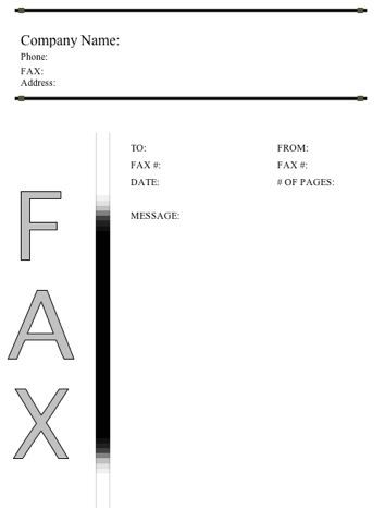 This Basic Printable Fax Cover Sheet Displays The Word Fax In Large