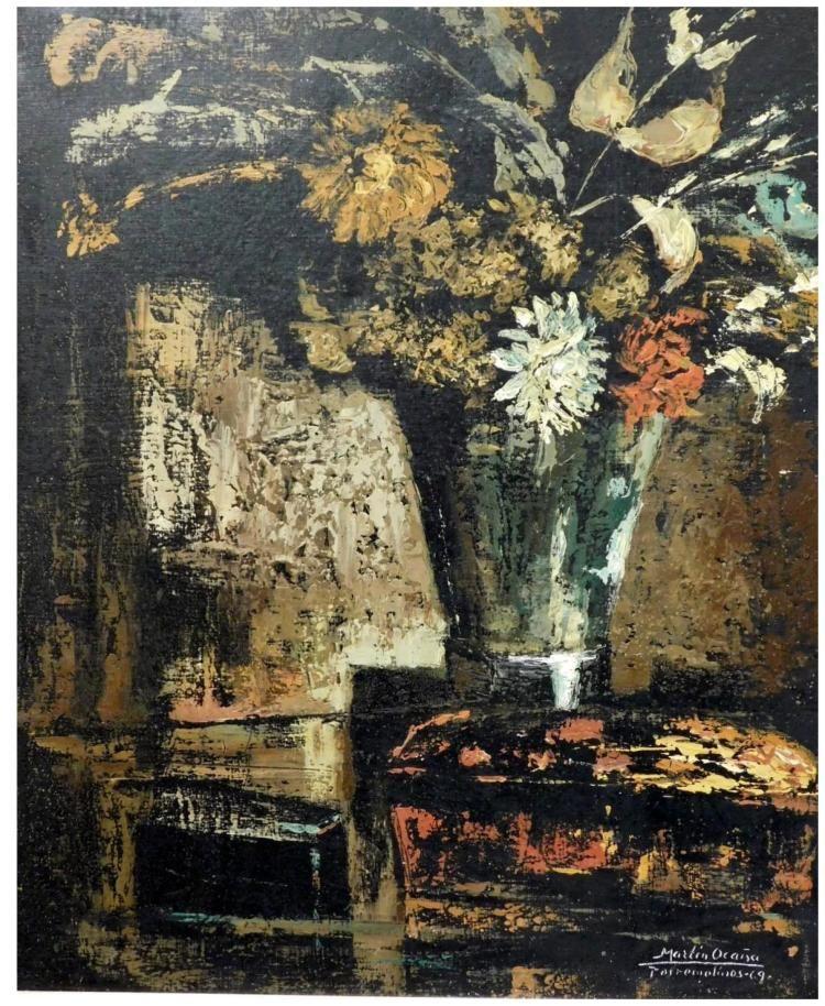 Martin Ocana Modernist Floral Still Life, 1969 Oil Painting