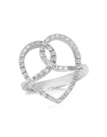 Cuori incrociati in Diamante e Oro Bianco 18K.