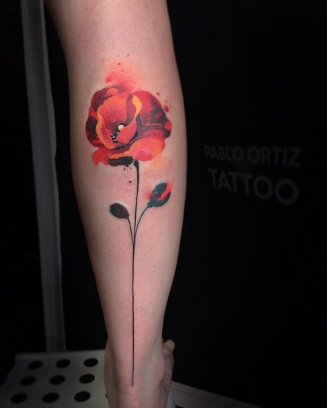flower watercolor tattoo tattoos and scarification i like pinterest tatouage coquelicot. Black Bedroom Furniture Sets. Home Design Ideas