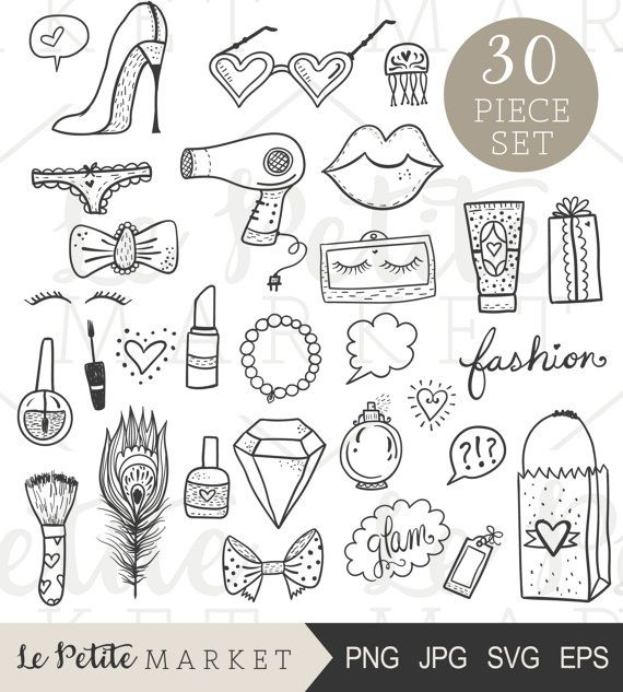 Hand Drawn Beauty Clip Art Set Glam Clipart Blogger Icons