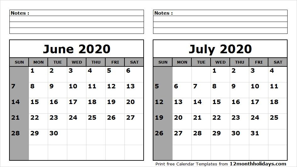 June And July Calendar 2020 June July 2020 Calendar Printable | 2018 Calendar | 2021 calendar