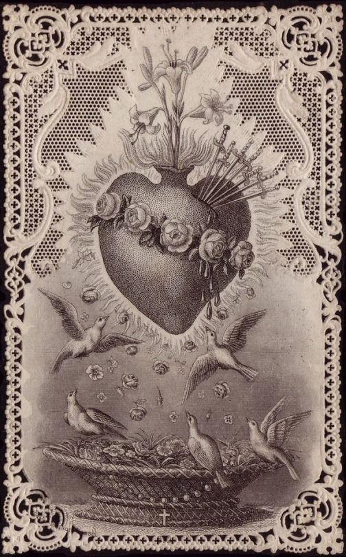 𝓦. — Antique Prayer Cards. Sacred heart art, Sacred