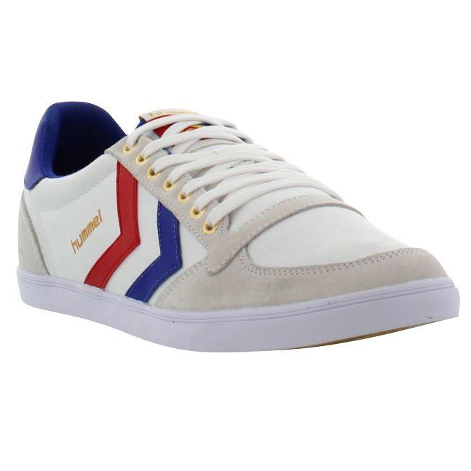 Hummel shoes, Mens Slimmer Stadil Low White Blue Red Gum