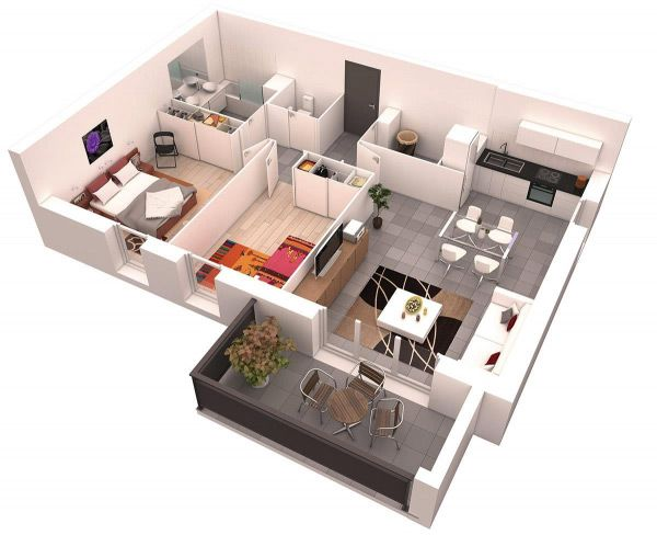 2-bedroom-3d-floor-plan-7 Depas Pinterest Bedrooms, Apartments