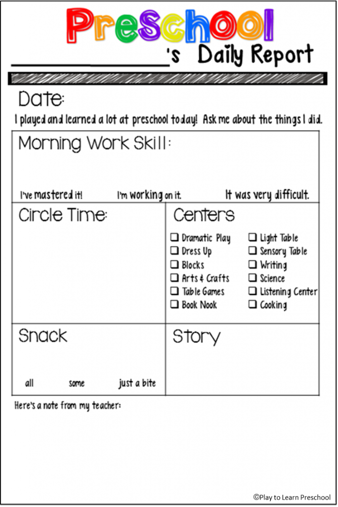 Preschool Daily Report  Free Download  Teacher Tips