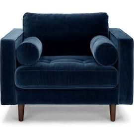 navy blue velvet tufted chair with bolsters article sven modern sofas chairs ottomans. Black Bedroom Furniture Sets. Home Design Ideas