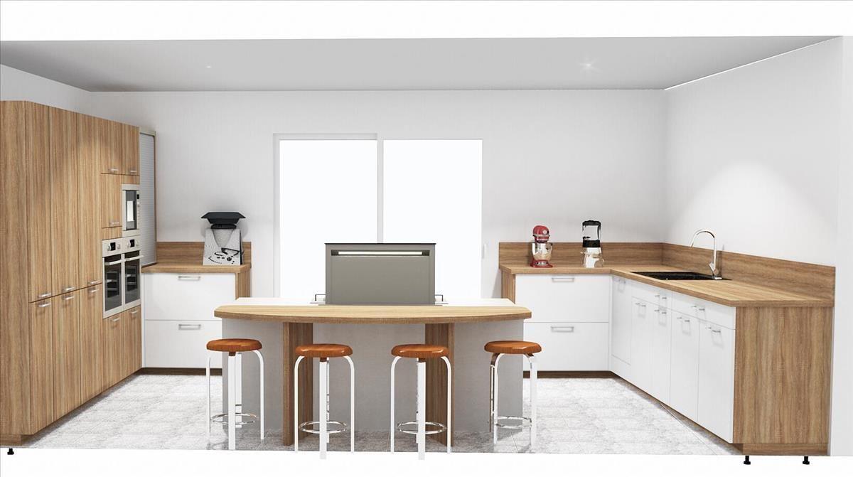 Plan 3d Cuisine Moderne Blanche Et Bois Avec Ilot Central Cuisine Moderne Cuisine Moderne Blanche Cuisine Bois