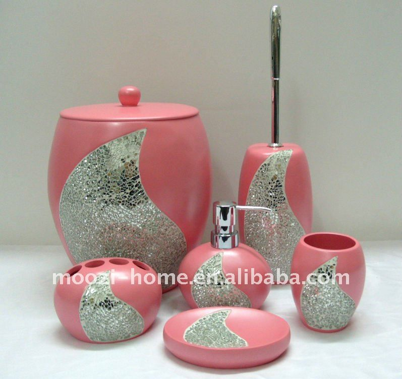pink and grey bathroom accessories. 2011 4pcs pink bathroom accessories set  New Bathroom Decor