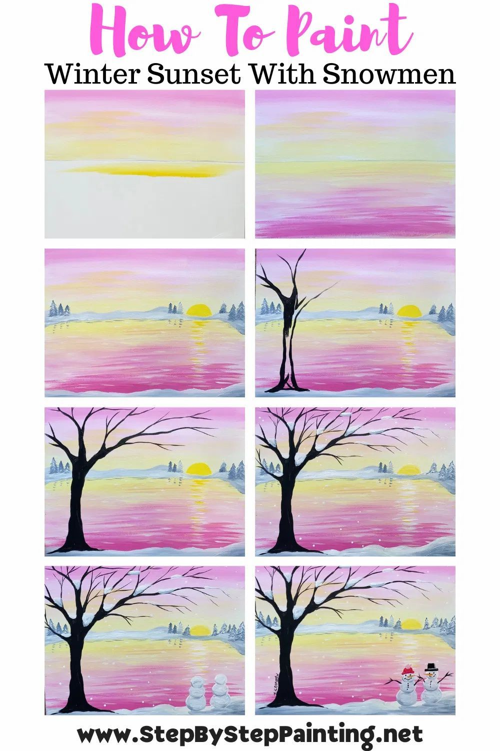 Winter Sunset Easy Acrylic Painting Step By For Beginners Canvas Diy Art Projects Simple Paintings