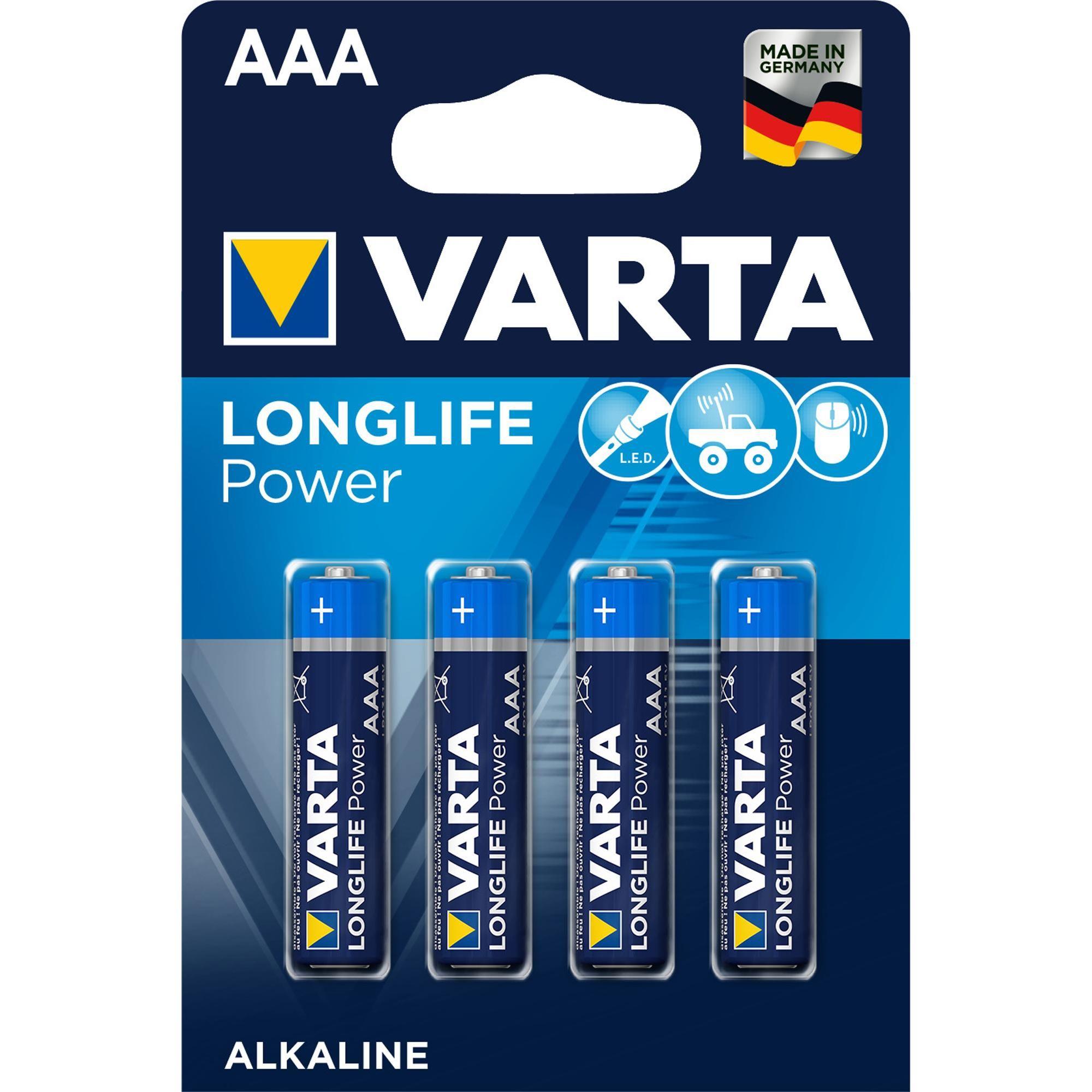 Varta High Energy Four Aaa Batteries High Energy Power Alkaline Battery