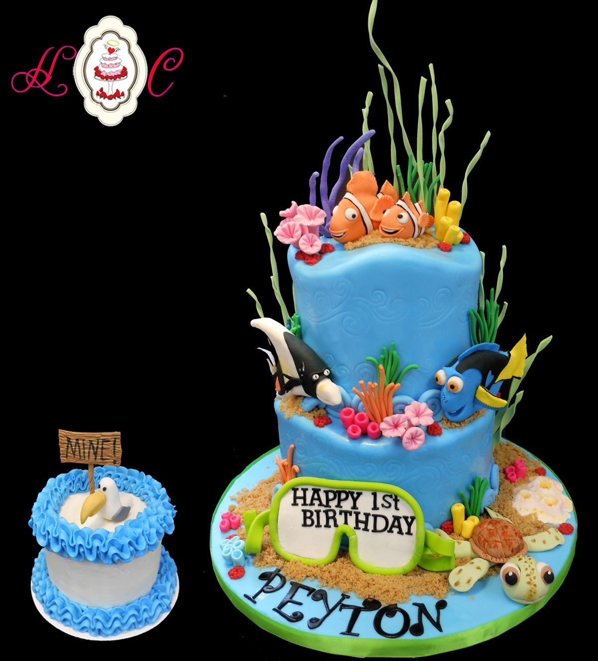 Finding Nemo First Birthday Cake with Seagull Mine Sign Baby