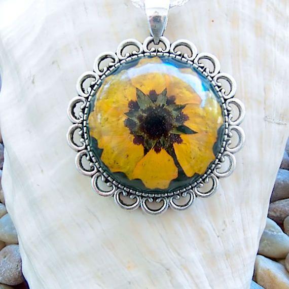 Handmade Florida Wild Sunflower Pendant Necklace with Gift Box