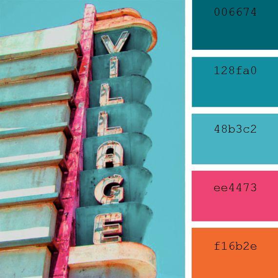 Paletas de colores azules y rosas estilo retro me - Colores azules para paredes ...