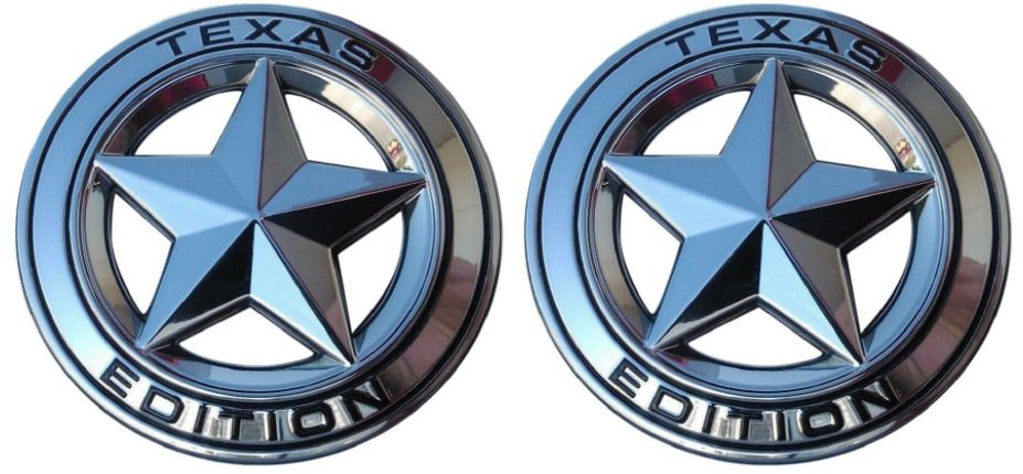 (Set of TWO) Texas Edition Star CHROME and Red Ro… FORD