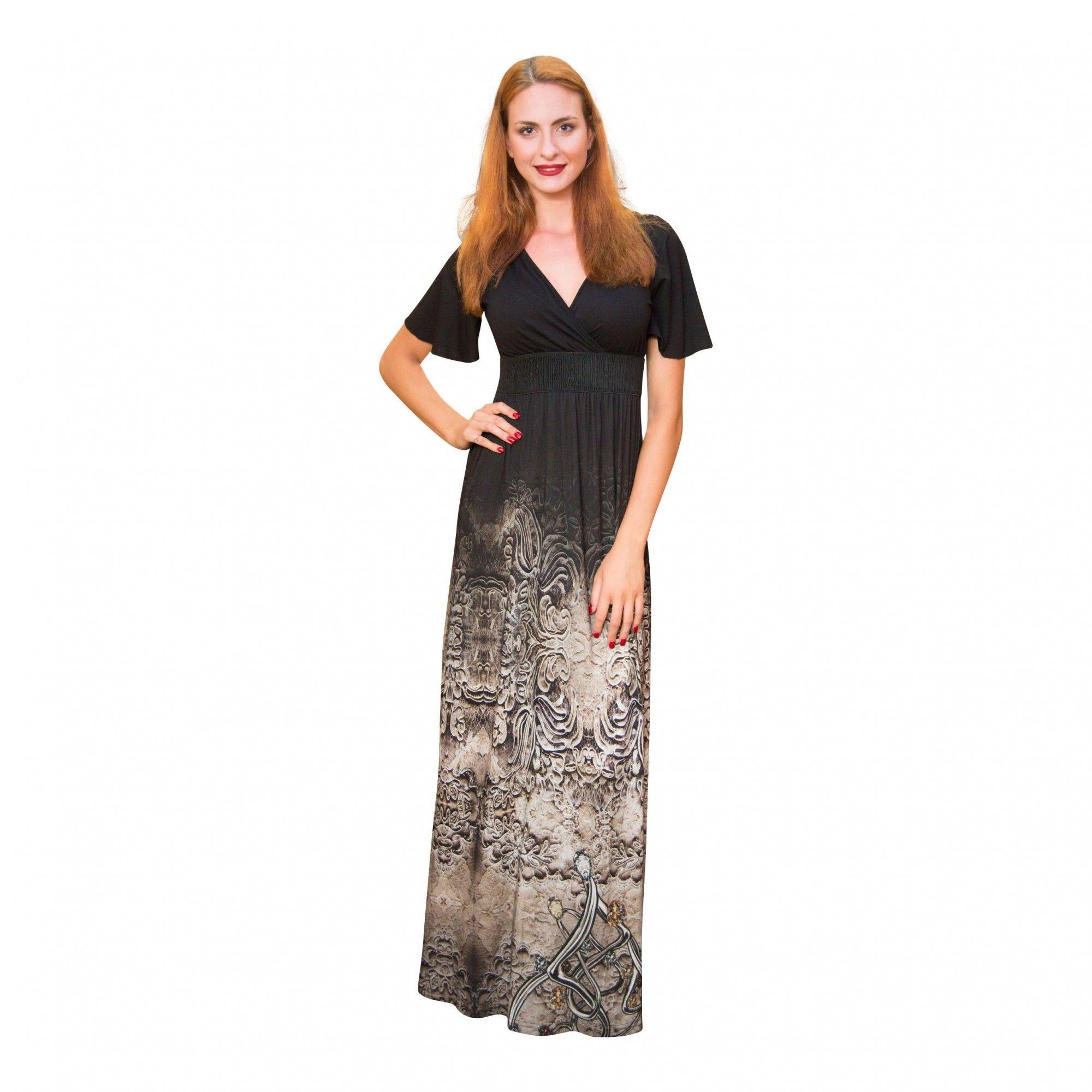 Φόρεμα κρουαζέ εμπριμέ κάτω με κοντό μανικάκι και V μπούστο | (92% VISC 8% LYCRA)