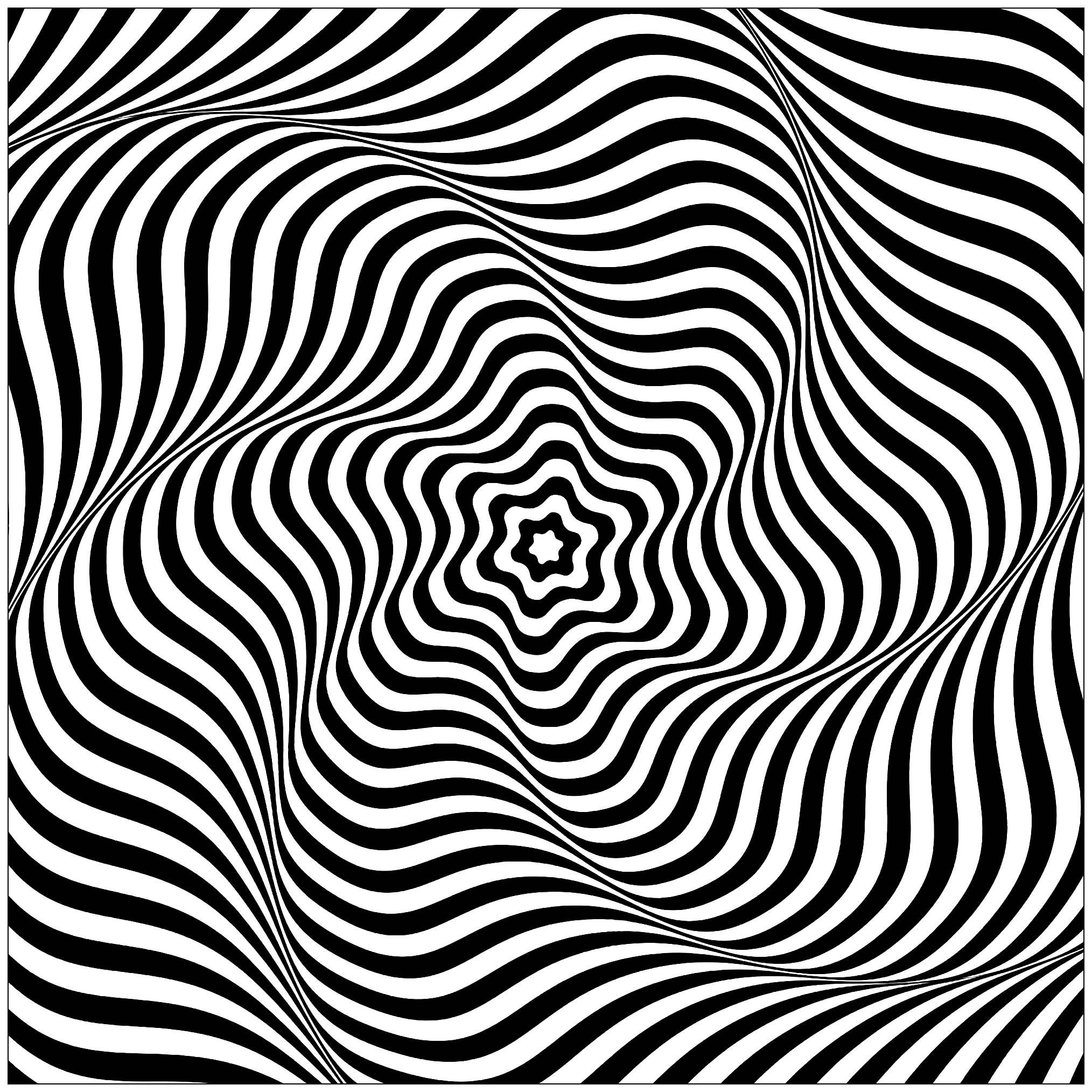 victor vasarely coloring pages | Op art wavy rotary movement - Optical illusion : Wavy ...
