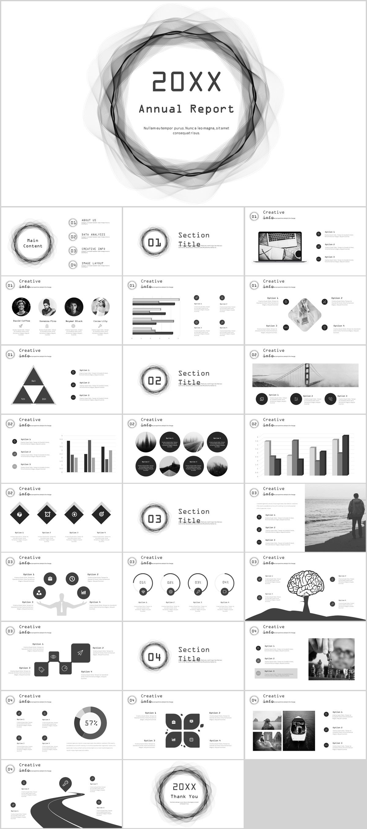 27+ gray annual report Slides PowerPoint templates on