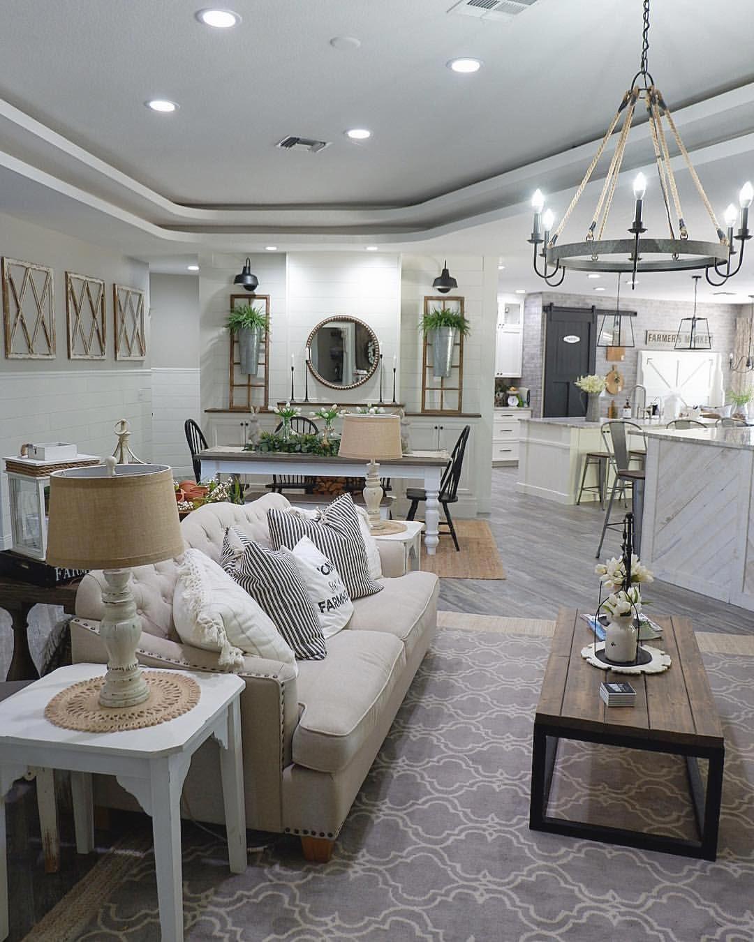 open floor plan  modern farmhouse living room