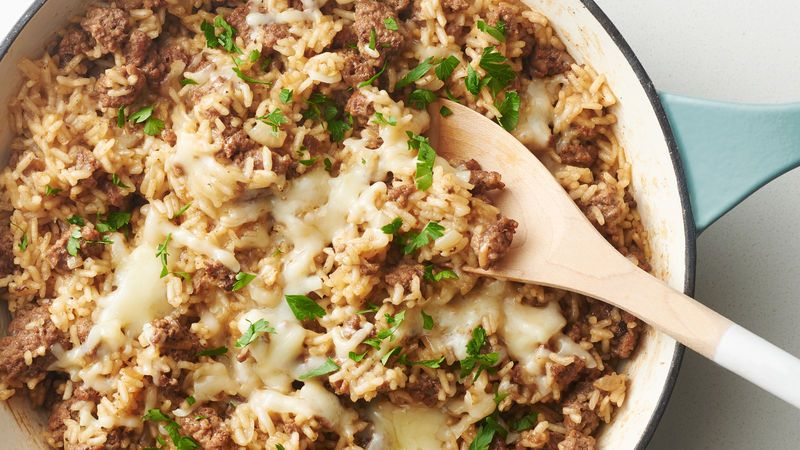 One Pot French Onion Soup Rice Skillet Recipe Beef Dinner Dinner With Ground Beef Recipes