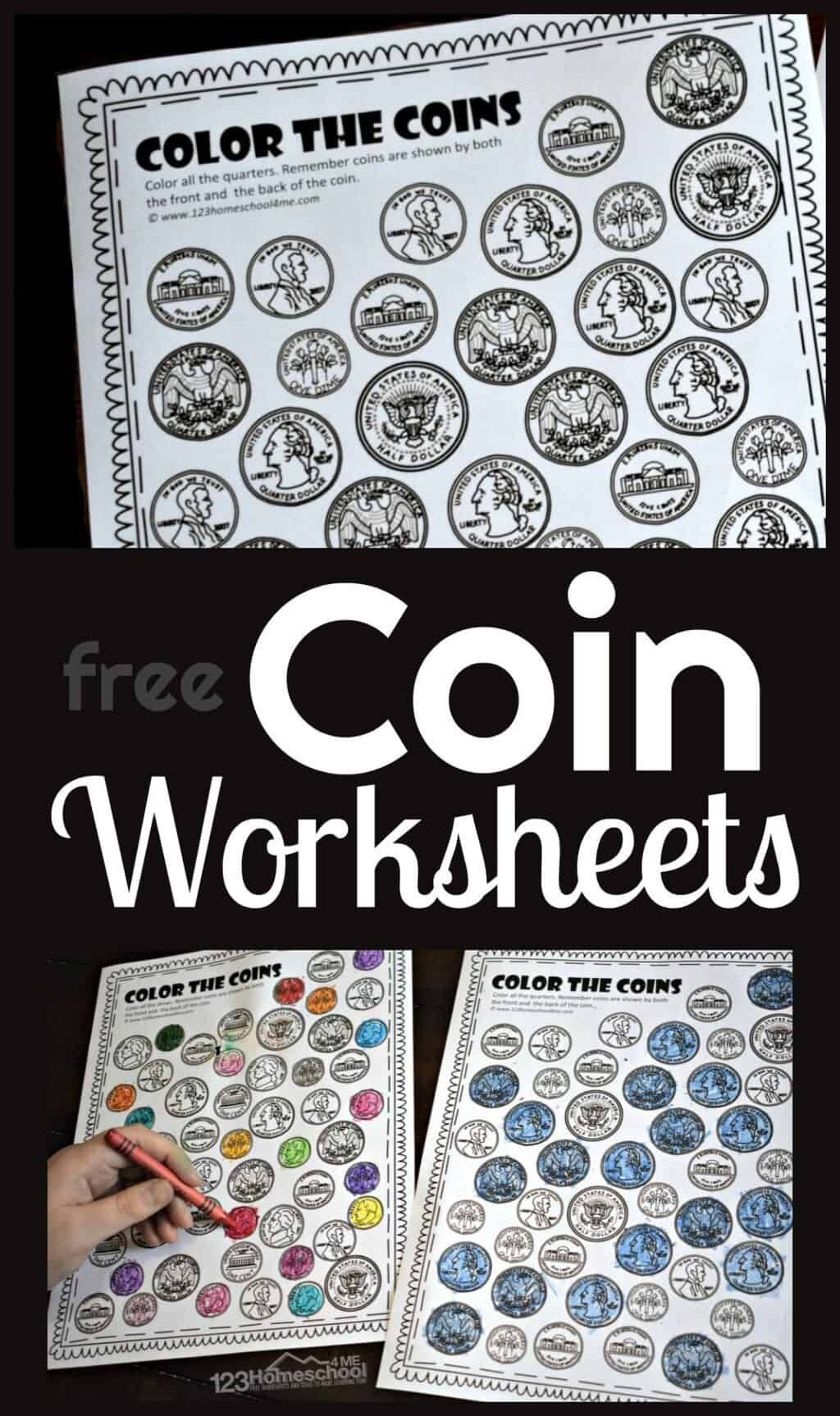 Color The Coins Money Worksheets In