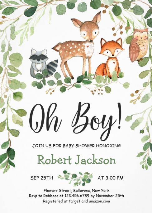 Woodland Forest Animals Oh Boy Baby Shower Invitation Zazzle Com In 2021 Animal Baby Shower Invitations Forest Animal Baby Shower Baby Shower Woodland Theme