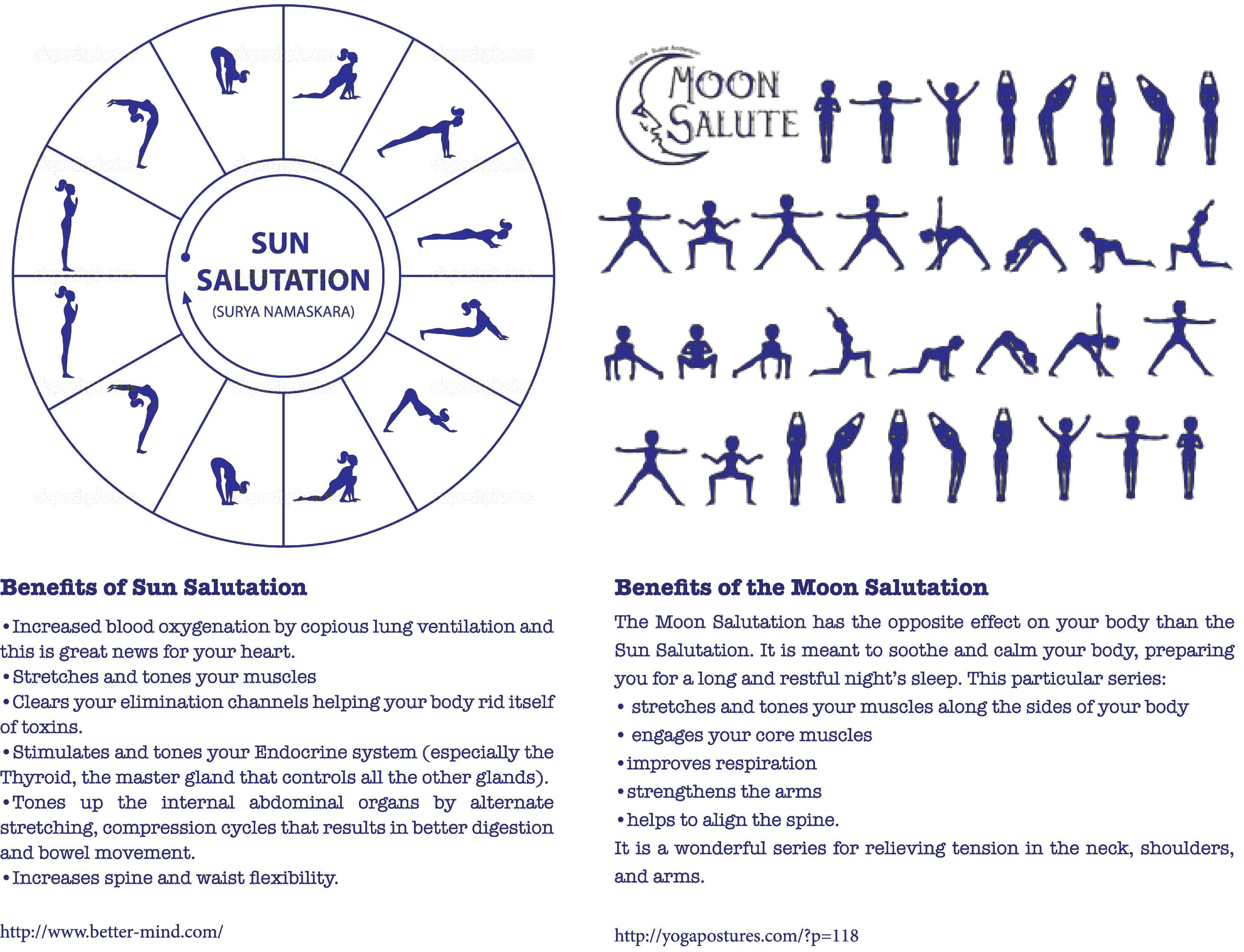 Sun and Moon Salutations | Vinyasa yoga poses, Moon ...