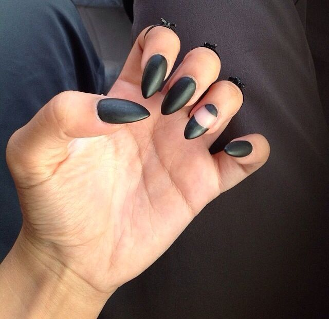 Black Matte Stiletto / Almond Nails design negative space | makeup ...