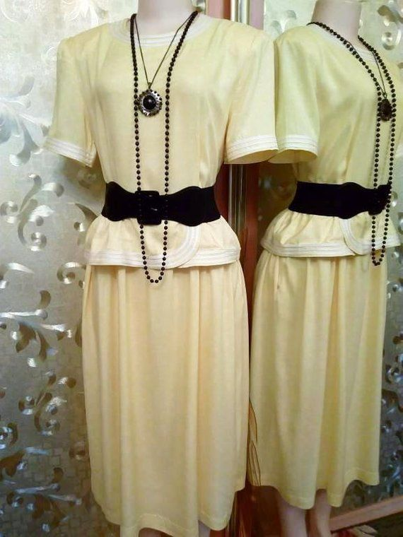 Dress In Pea Size 8 16 Light Yellow Color White Costume Long Vintage Natural Fabric Short Sleeve Loose Ons