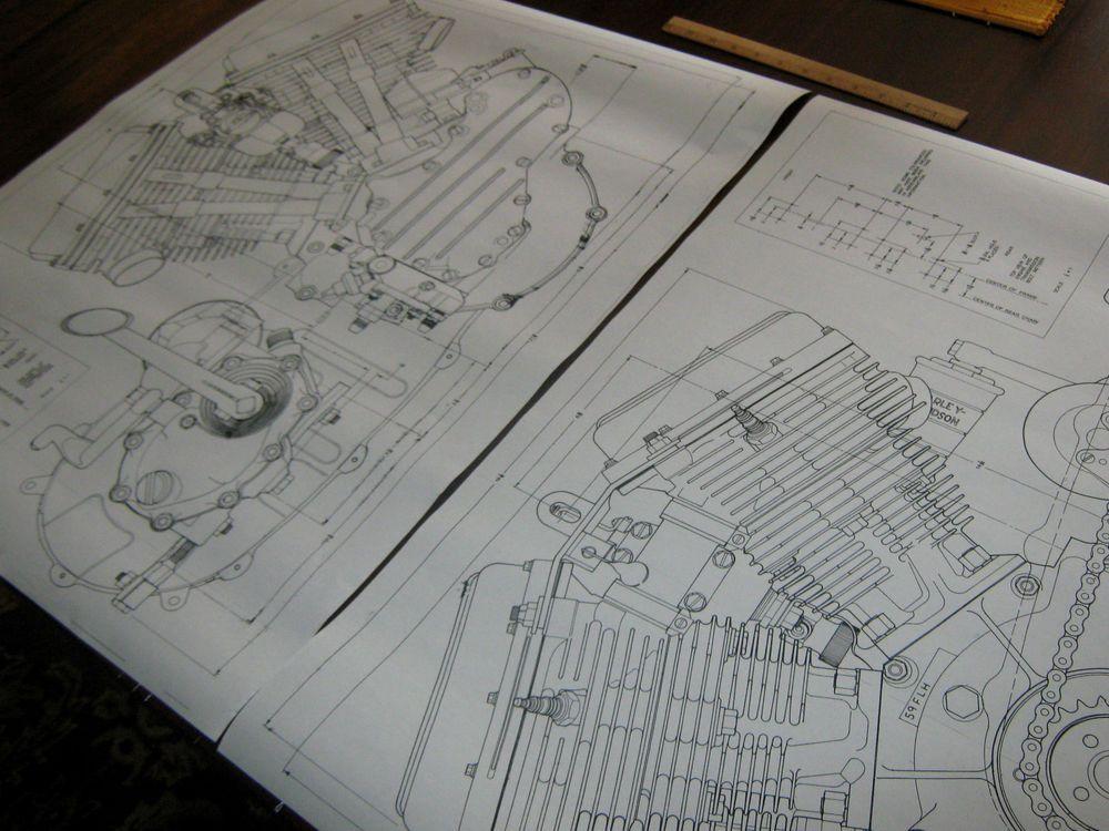 HARLEY DAVIDSON LOT OF 8 BLUE PRINTS shovel Pan head Flat Knuckle - copy blueprint start animation
