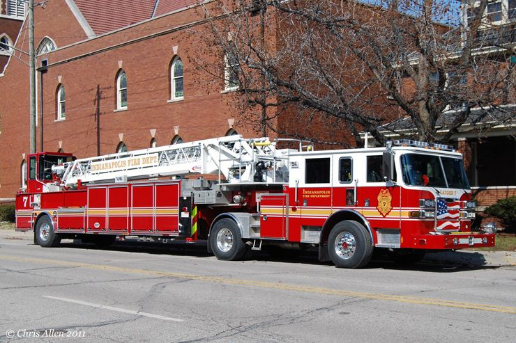 Ladder 7 on Mass Ave Indianapolis. Longest fire truck