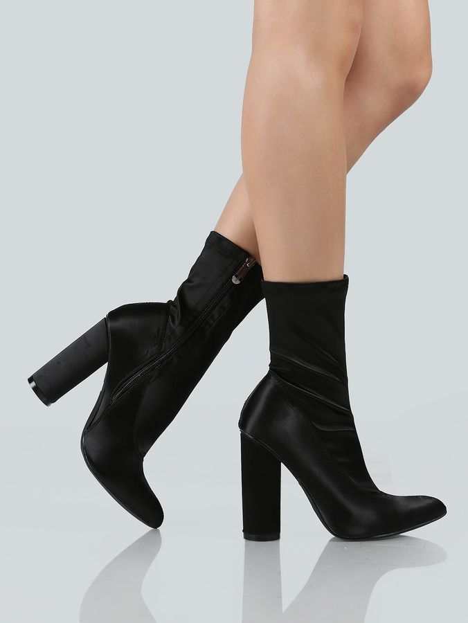 b1d1b2c483 Shein Pointy Toe Cylinder Heel Boots BLACK | .FOOTWORK. | Black heel ...