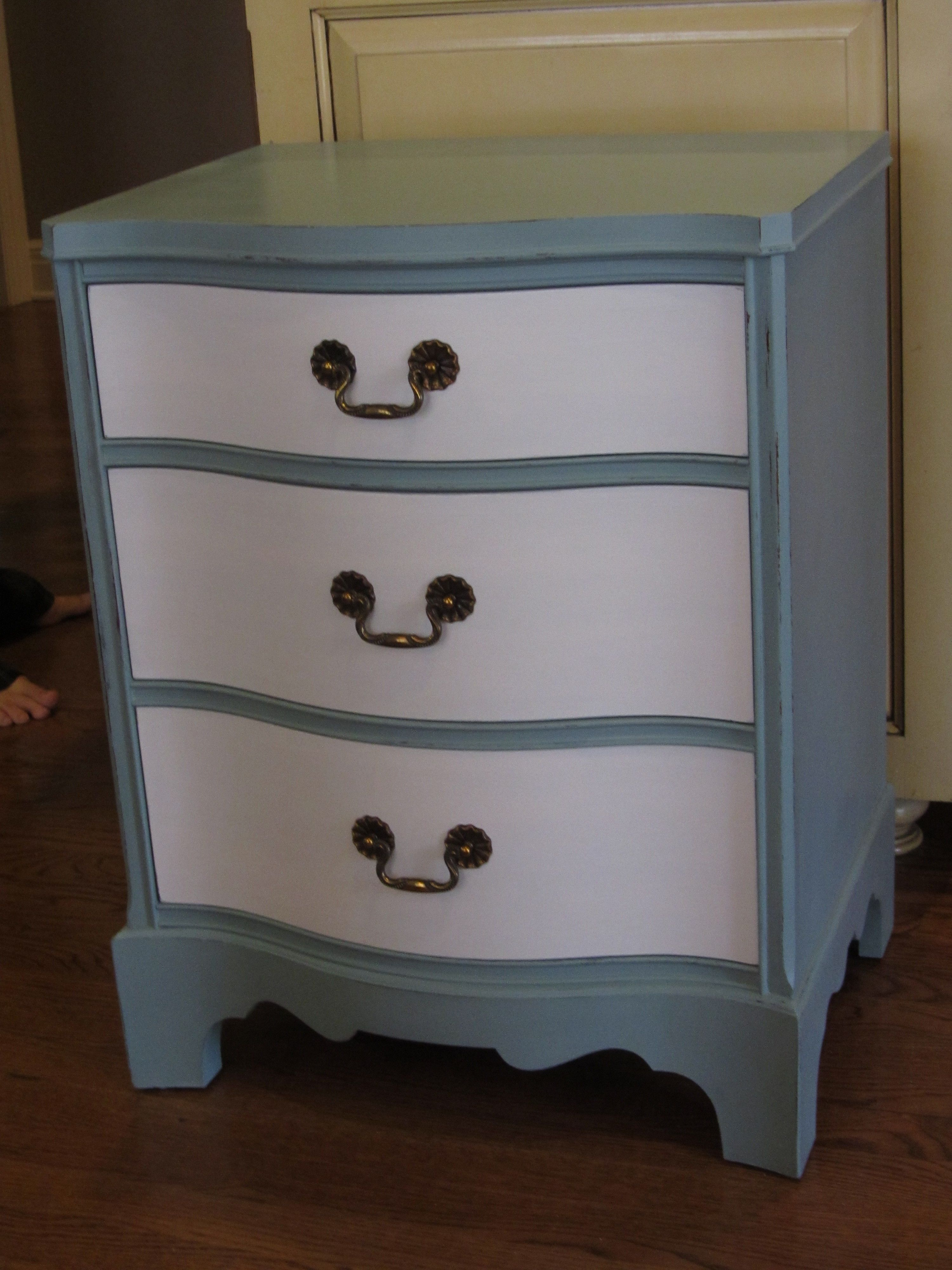 Small Three Drawer Chest Painted In Annie Sloan Duck Egg And Mother Earth White Lace 21 Inches Wide 16 5 Deep 27 Tall Sold Fast