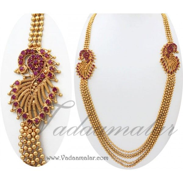 Peacock design double side pendant with ruby stoneain gold toned peacock design double side pendant with ruby stoneain gold toned for sarees salwar mozeypictures Choice Image