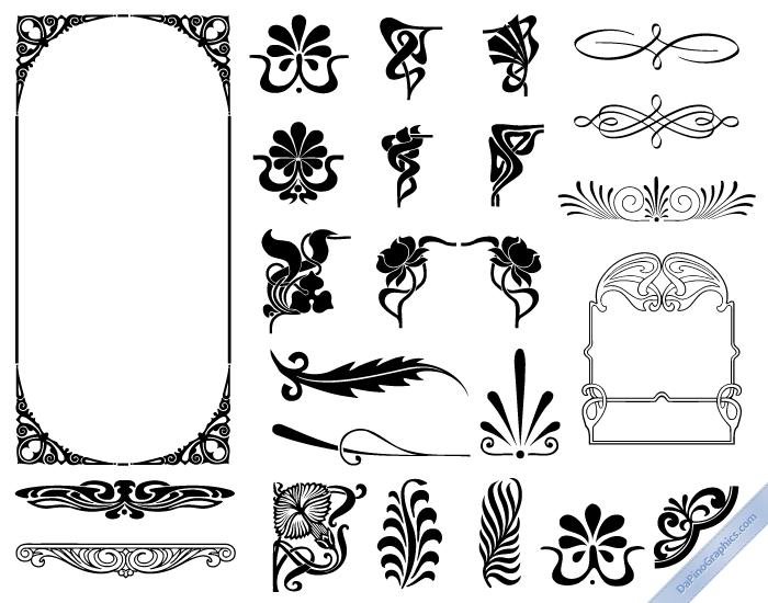 Art nouveau design elements premium vector graphics for Element deco design