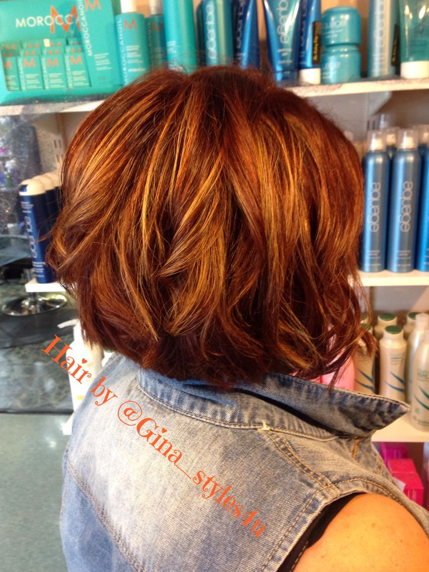 Red Copper Balayage Hair Short Asymmetrical Style Highlights Blonde Hair Painting Curls Balayage Hair Short Hair Balayage Short Hair Styles