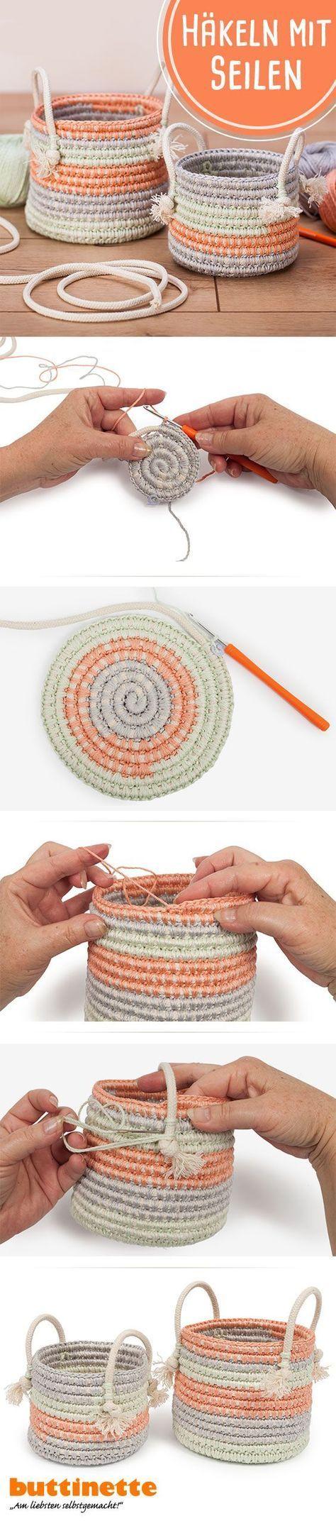 Häkeln mit Seilen #häkeln #Seile #Seilhäkeln #Häkelkörbchen ...
