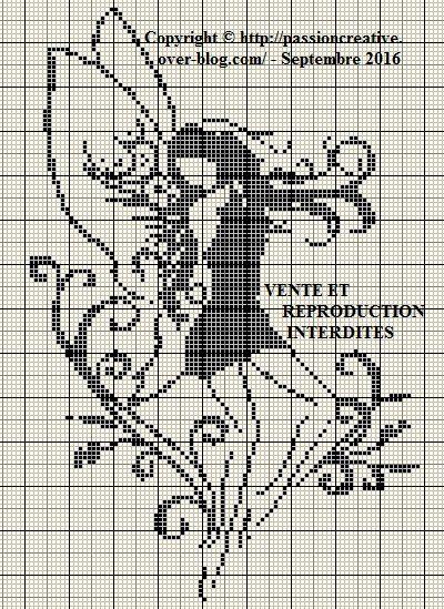 Grille gratuite point de croix : Fée monochrome noir 2 ...