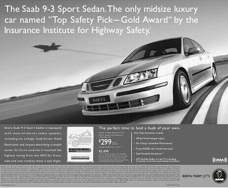Original Saab Print Advertisement For The Saab 9 3ss Highlighting