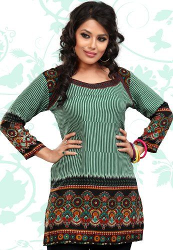 Indian Tunic Top Womens  Kurti Printed Blouse  Clothing -4233