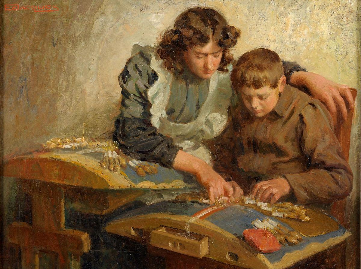Les dentellières. Huile sur toile de Emiel JACQUES ou Emile/Emil JACQUES (belge naturalisé américain 1874 - 1937)