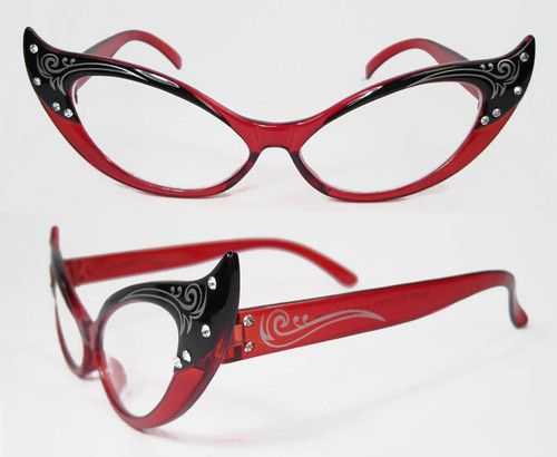ef6db8d3bca9 50s Rhinestone CAT EYES eye Vintage Style Glasses RED Clear Lenses ...