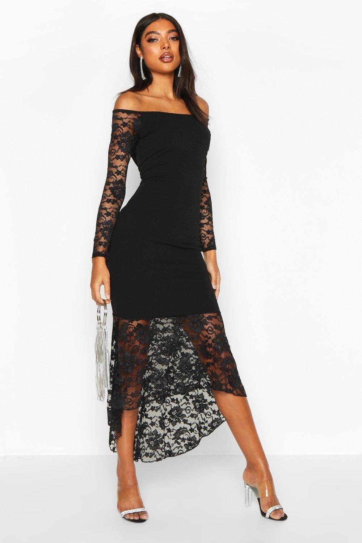 Women S Tall Off The Shoulder Lace Midi Dress Boohoo Uk Black Short Dress Midi Dress Black Lace Midi Dress [ 1500 x 1000 Pixel ]