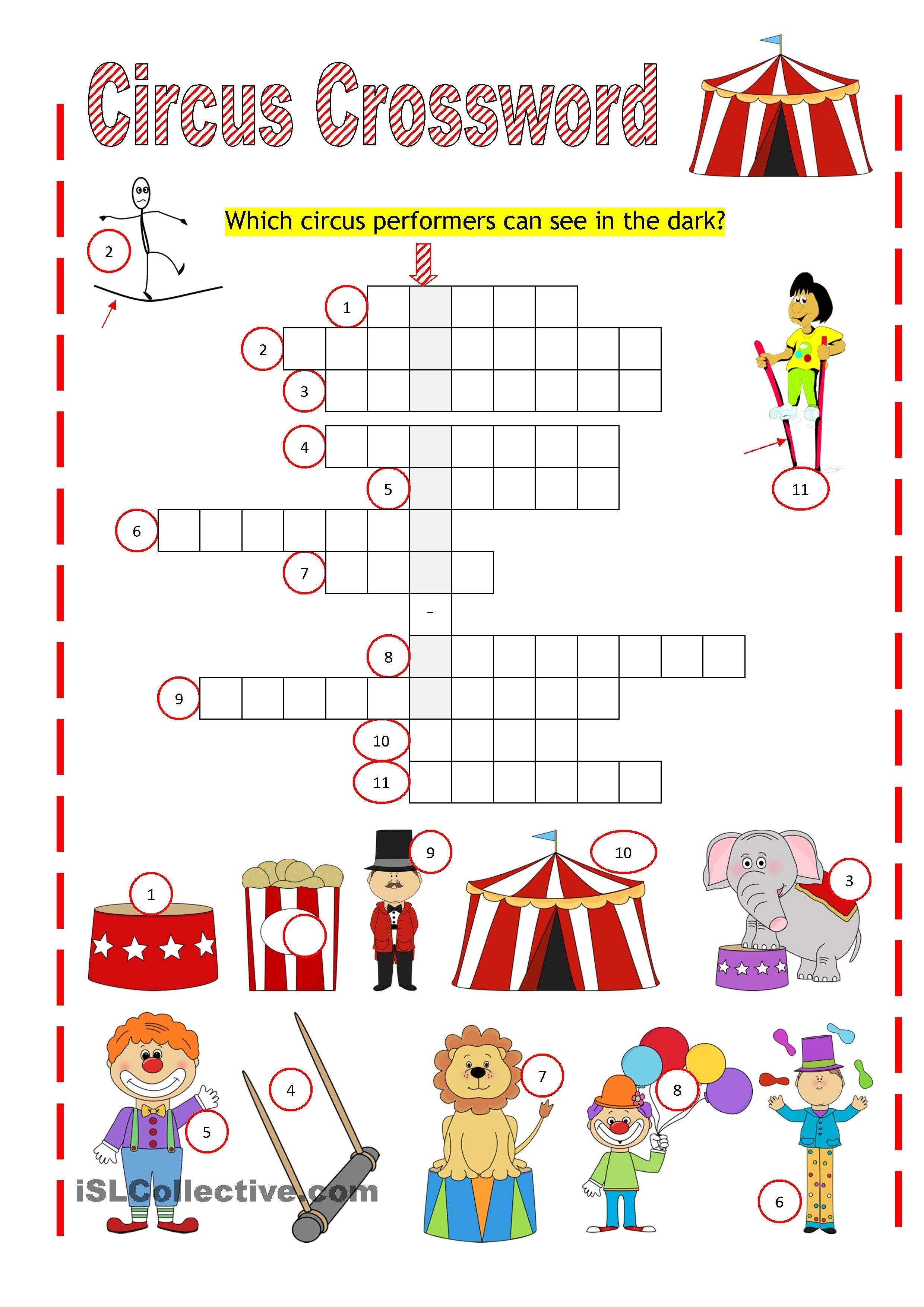 Worksheets Ipc Worksheets circus crossword mp1 ipc pinterest worksheets printable and summer school