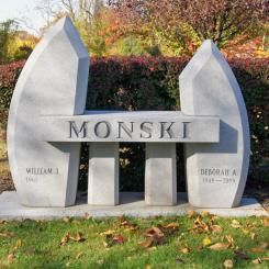 Bench memorial for the Monski family